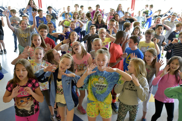Wycallis Elementary School students perform Zumba dances before PSSA testing