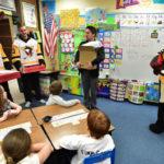 Wilkes-Barre Scranton Penguins visit Lake-Noxen first grade class