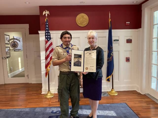 Gregory Albertson, of Lehman, receives Eagle Scout citation