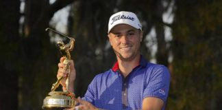 Justin Thomas holds the trophy for winning The Players Championship on Sunday in Ponte Vedra Beach, Fla.                                  AP photo