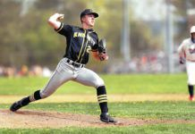 Lake-Lehman starter Nick Finarelli delivers a pitch against Nanticoke Area on Tuesday.                                  Fred Adams | For Times Leader