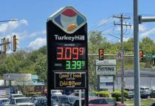 Gas was $3.09.9 per gallon at Turkey Hill on Wilkes-Barre Boulevard Wednesday afternoon. Northeastern Pennsylvania drivers are seeing a jump at the pump as gas averages have increased at least eight cents in many areas week over week.                                  Bill O'Boyle | Times Leader