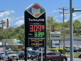 Gas was $3.09.9 per gallon at Turkey Hill on Wilkes-Barre Boulevard Wednesday afternoon. Northeastern Pennsylvania drivers are seeing a jump at the pump as gas averages have increased at least eight cents in many areas week over week.                                  Bill O'Boyle   Times Leader