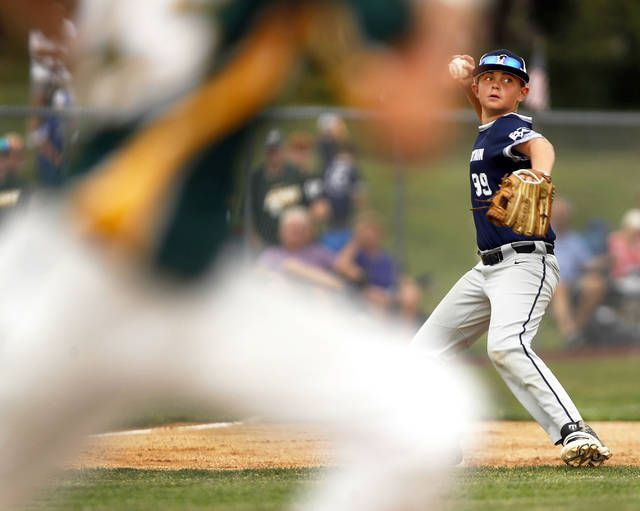 <p>Back Mountain National's Chase Aten makes a throw to first base.</p>                                  <p>Fred Adams   Times Leader</p>
