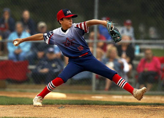 GPA starter Nick Innamorati throws a pitch in the Section 5 Little League major baseball winners bracket finals Sunday at Back Mountain Little League.                                  Fred Adams | For Times Leader