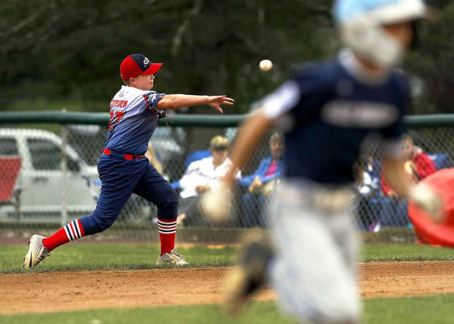 <p>GPA second baseman Max Gordon makes a throw to first as Back Mountain National's Chris Flanagan advances to third base in the third inning Sunday.</p>                                  <p>Fred Adams | For Times Leader</p>