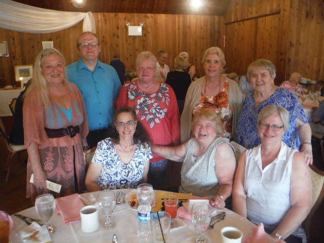 Among the friends of the Back Mountain Memorial Library Auction who attended Monday's kick-off dinner were, seated: Denise Schnars, Lynn Bartz and Susan Klaips. Standing: Charlotte Bartizek, Michael Elias, Susan Worth, Gladys Harsel and Virginia Luke.                                  Mary Therese Biebel   Times Leader
