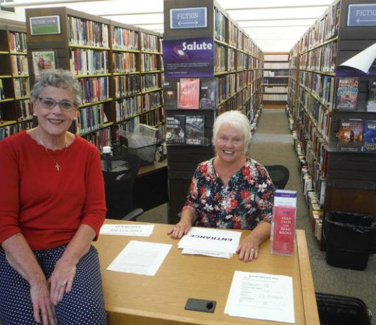 Friends of the Osterhout Free Library Irene Martin and Diane Krokos are two of the volunteers helping prepare for the 44th annual book sale, which will be held indoors in the reading room Monday through Saturday. (Enter through the back of the library.)                                  Mary Therese Biebel | Times Leader