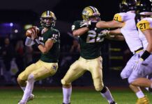 Wyoming Area's Blaise Sokach-Minnick sets up in the pocket against Lake-Lehman Friday night.                                  Tony Callaio | For Times Leader